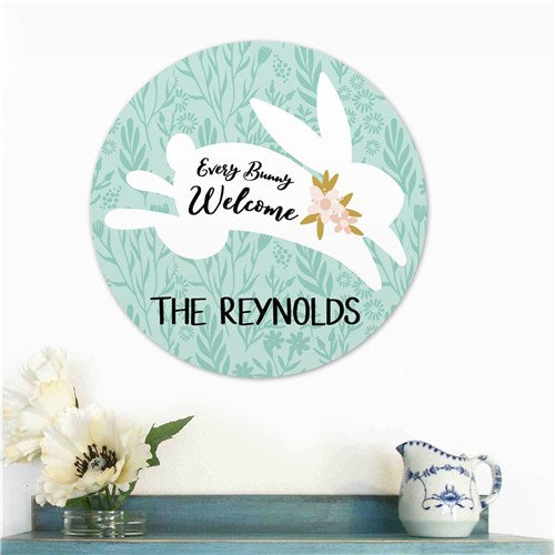 Personalized Every Bunny Welcome Round Sign