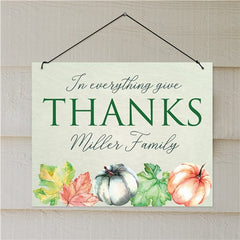 Personalized In Everything Give Thanks Wall Sign