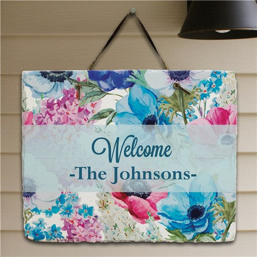 Personalized Floral Spring Garden Slate