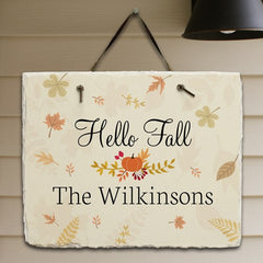 Personalized Hello Fall Slate Plaque
