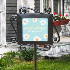 Personalized Welcome Daisies Garden Stake