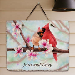 Personalized Spring Cardinals Slate Plaque