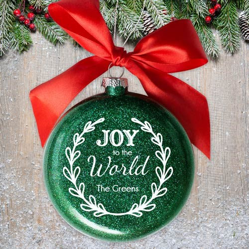 Personalized Joy to the World Glass Ornament