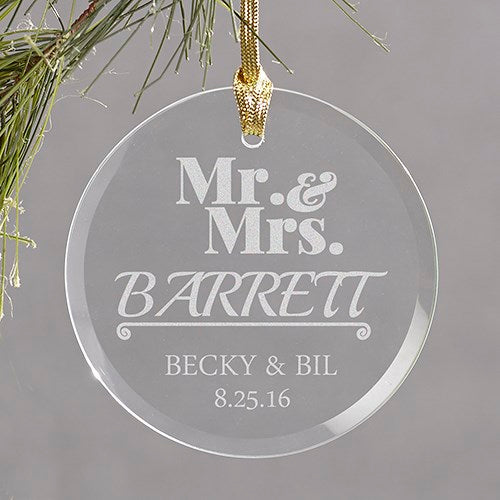 Engraved Mr & Mrs Round Glass Ornament