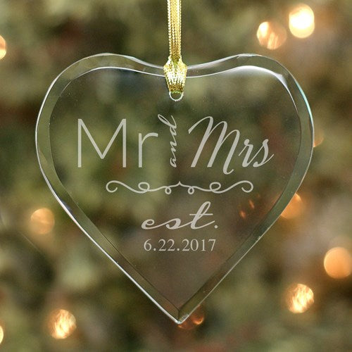 Engraved Wedding Couple Glass Heart Ornament