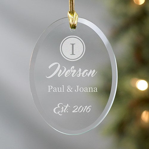 Engraved Couples Name And Initial Oval Glass Ornament
