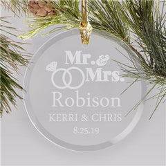 Engraved Wedding Rings Round Glass Ornament
