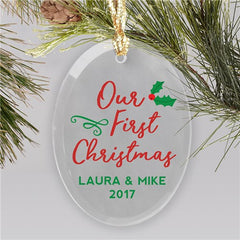 Personalized Our First Christmas Glass Ornament