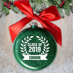 Personalized Glass Graduation Banner Ornament
