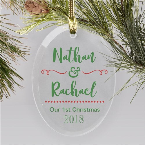 Personalized Our 1st Christmas Glass Ornament