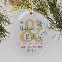 Personalized Mistletoe Glass Ornament