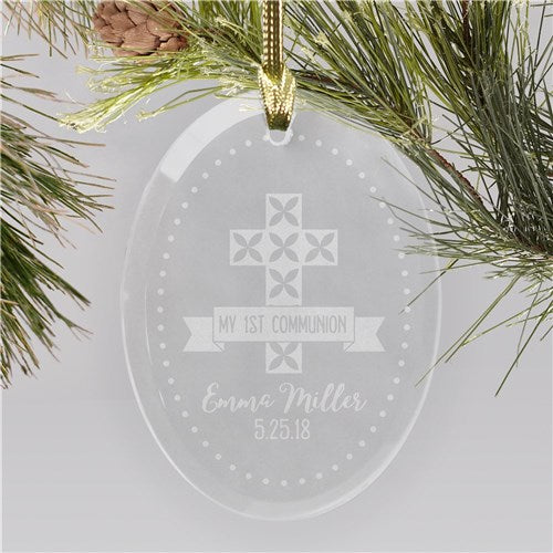 Engraved My First Communion Banner Ornament