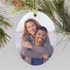 Personalized Photo Oval Glass Ornament