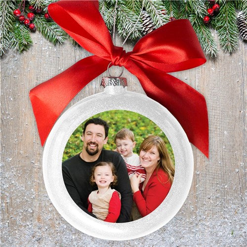 Personalized White Photo Ornament