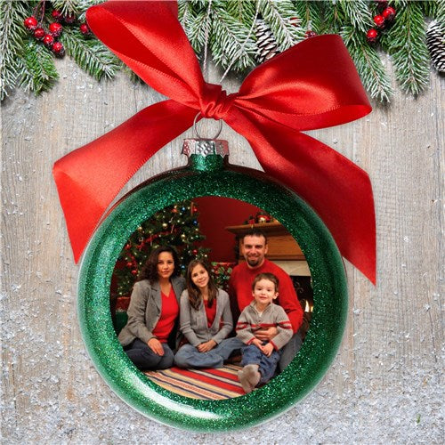 Personalized Green Photo Glass Ornament