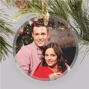 Personalized Photo Round Glass Ornament