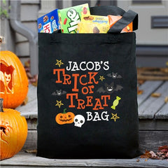Personalized Trick Or Treat Pumpkin Tote Bag