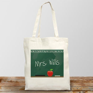 Personalized Teacher Canvas Tote Bag Chalkboard Design