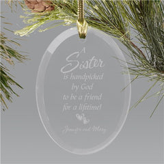 Personalized Sister Glass Holiday Ornament