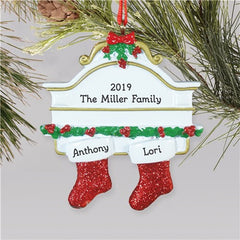 Red Hanging Stockings Ornament-2 Names