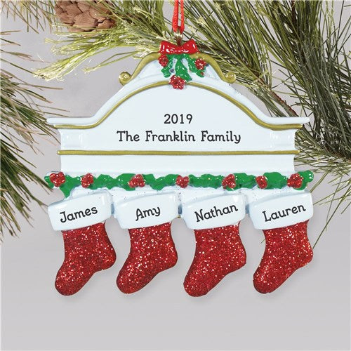 Red Hanging Stockings Ornament-4 Names