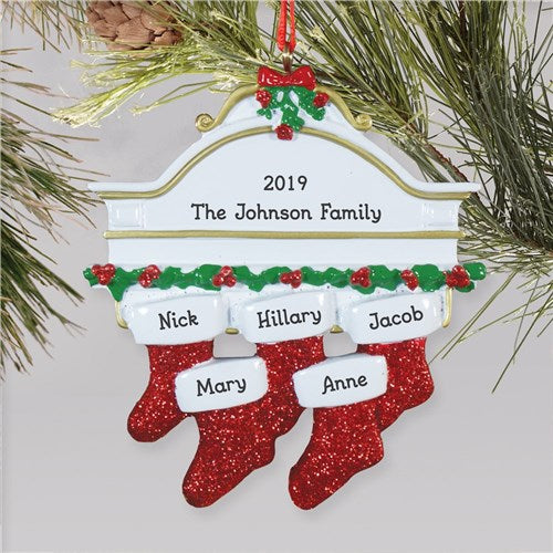 Red Hanging Stockings Ornament-5 Names