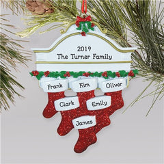 Red Hanging Stockings Ornament-6 Names