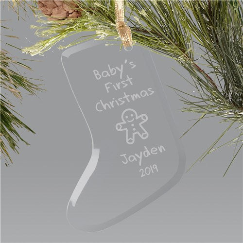 Baby's 1st Christmas Ornament - Glass Stocking