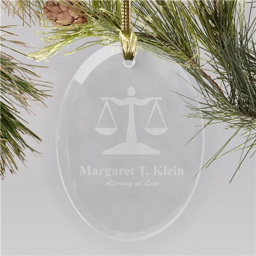 Lawyer Engraved Oval Glass Christmas Ornament