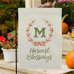 Personalized Harvest Blessing Wreath Garden Flag