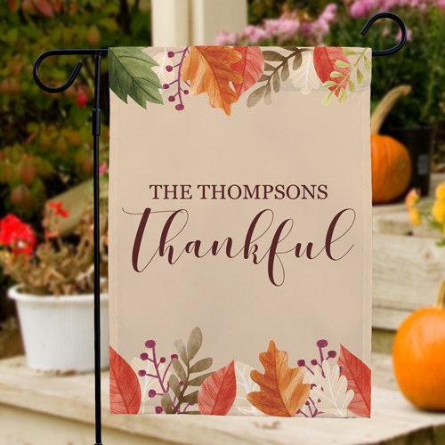 Personalized Thankful Garden Flag