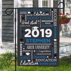 Personalized Word Art Graduation Garden Flag