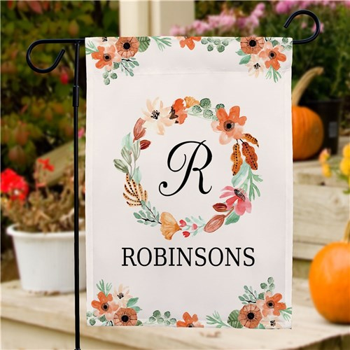 Personalized Watercolor Floral Wreath Garden Flag