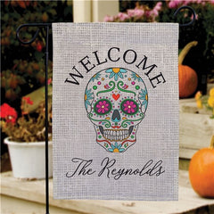 Personalized Sugar Skull Garden Flag