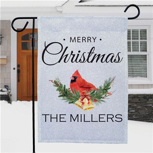 Personalized Merry Christmas Cardinal Garden Flag