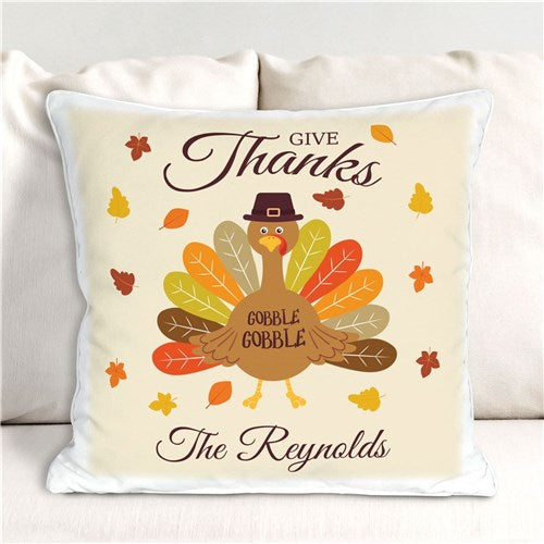 Personalized Give Thanks Turkey With Hat Throw Pillow