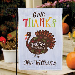 Personalized Give Thanks Gobble Gobble Garden Flag