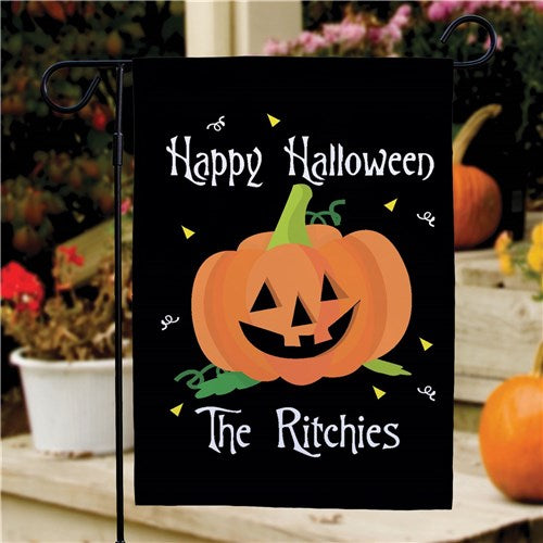 Personalized Happy Halloween Pumpkin Garden Flag