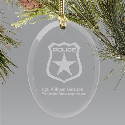 Police Officer Engraved Oval Glass Holiday Ornament