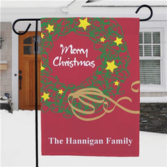 Personalized Christmas Wreath Garden Flag