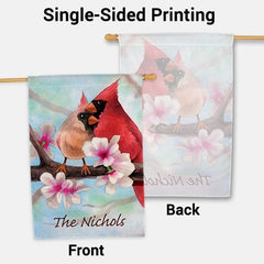 Spring Cardinals Personalized House Flag