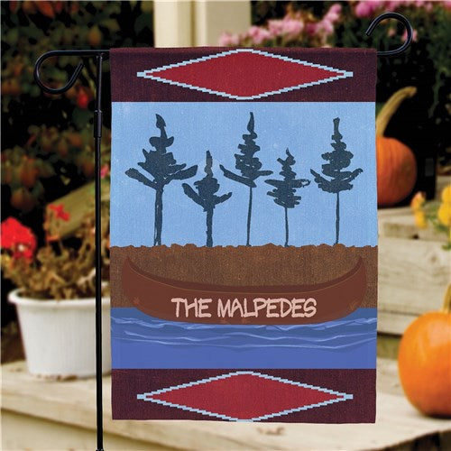 Personalized Canoe Welcome Garden Flag