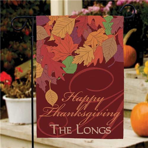 Personalized Fall Leaves Thanksgiving Garden Flag