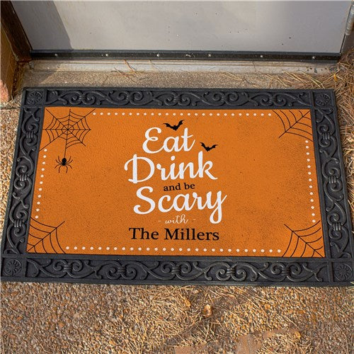 Personalized Eat Drink And Be Scary Halloween Doormat