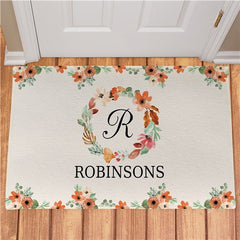 Personalized Watercolor Floral Wreath Doormat