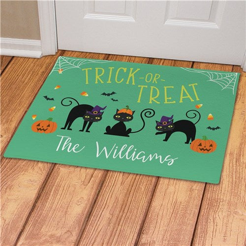 Personalized Trick or Treat Cats Doormat