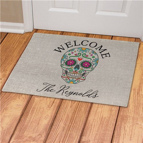 Personalized Sugar Skull Doormat