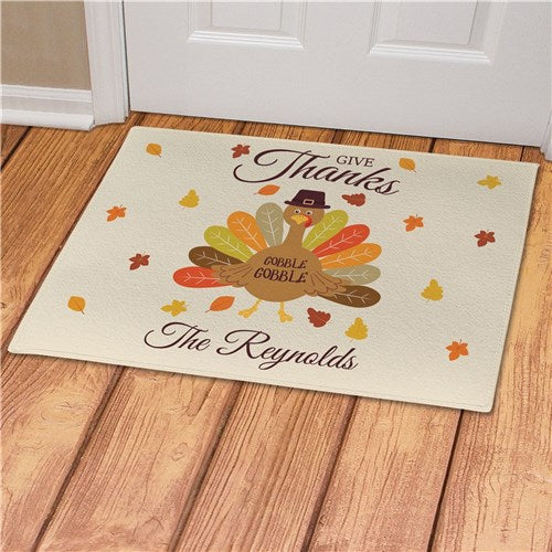 Personalized Give Thanks Turkey With Hat Doormat
