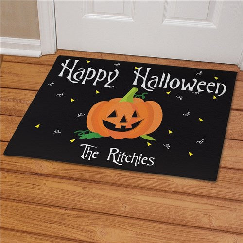 Personalized Happy Halloween Pumpkin Welcome Doormat