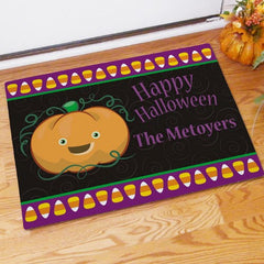 Personalized Halloween Pumpkin & Candy Corn Doormat